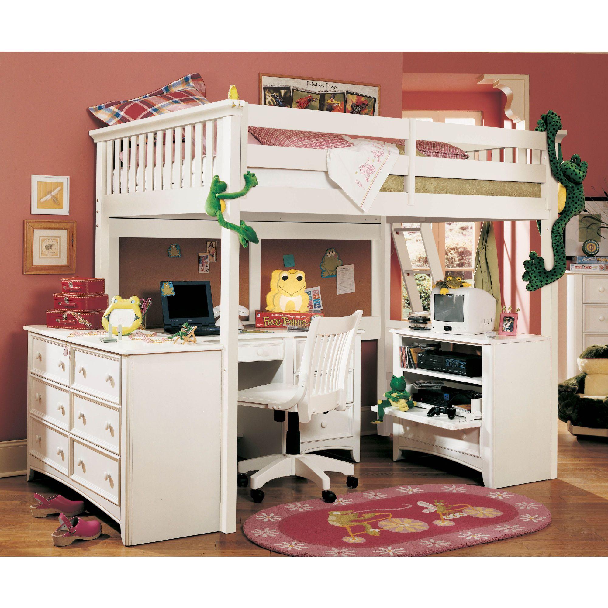 Loft bed with desk i love pinterest muebles para for Cuartos para ninas literas