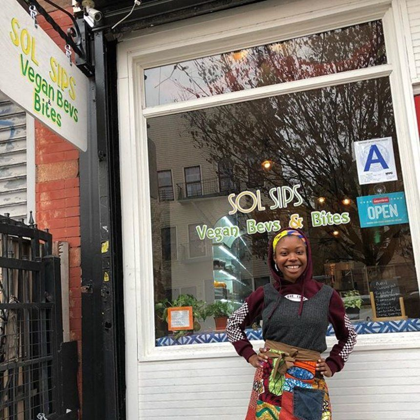 This Black Owned Vegan Restaurant Is Helping Brooklyn Become Greener One Meal And Juice At A Time Black Restaurant Vegan Restaurants Vegan