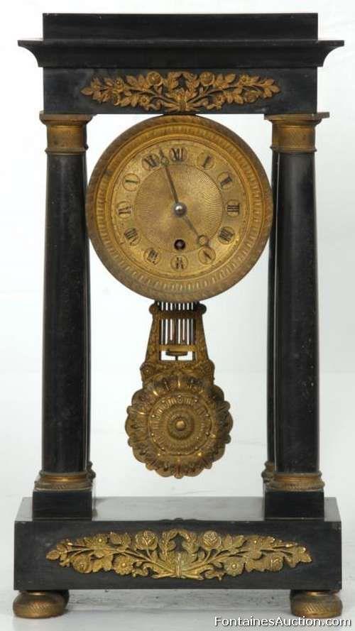 French Black Marble Portico Clock Lot 128 Estimate 400 600 Black Marble Clock Antique Wall Clock