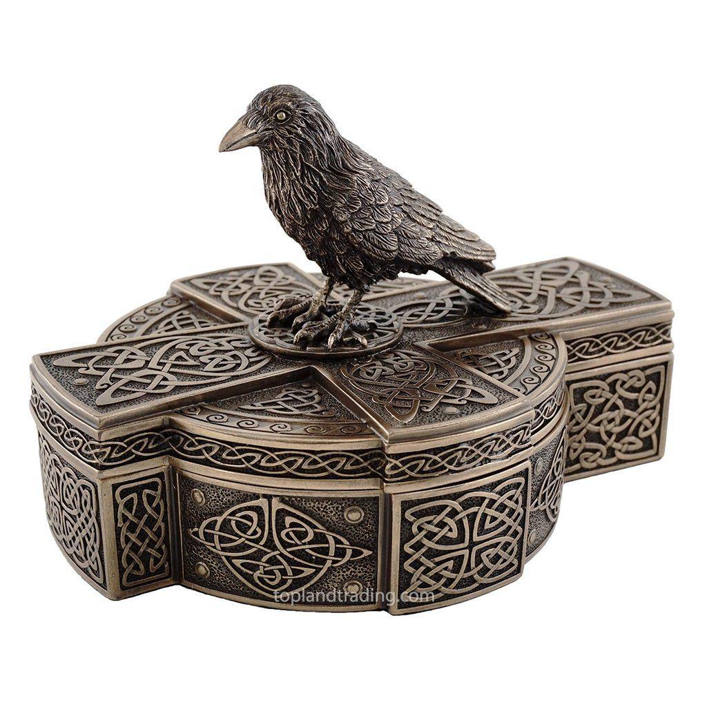 Celtic Raven On Celtic Cross Treasure Box Gothic Home Decor Crow Sculpture Trinket Jewelry Box