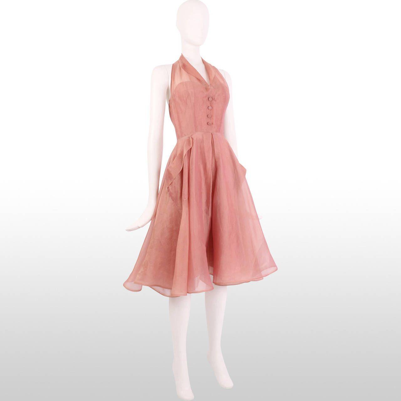 1950\'s Organza Halter Dress | Vestidos y estilo | Pinterest ...