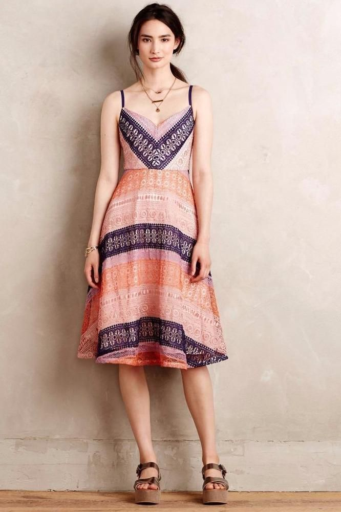 d2471c40d92d NEW ANTHROPOLOGIE $328 Summer Cottage Dress by Maeve Size 00 Coral Womens  NWT #Anthropologie #Flare #Casual