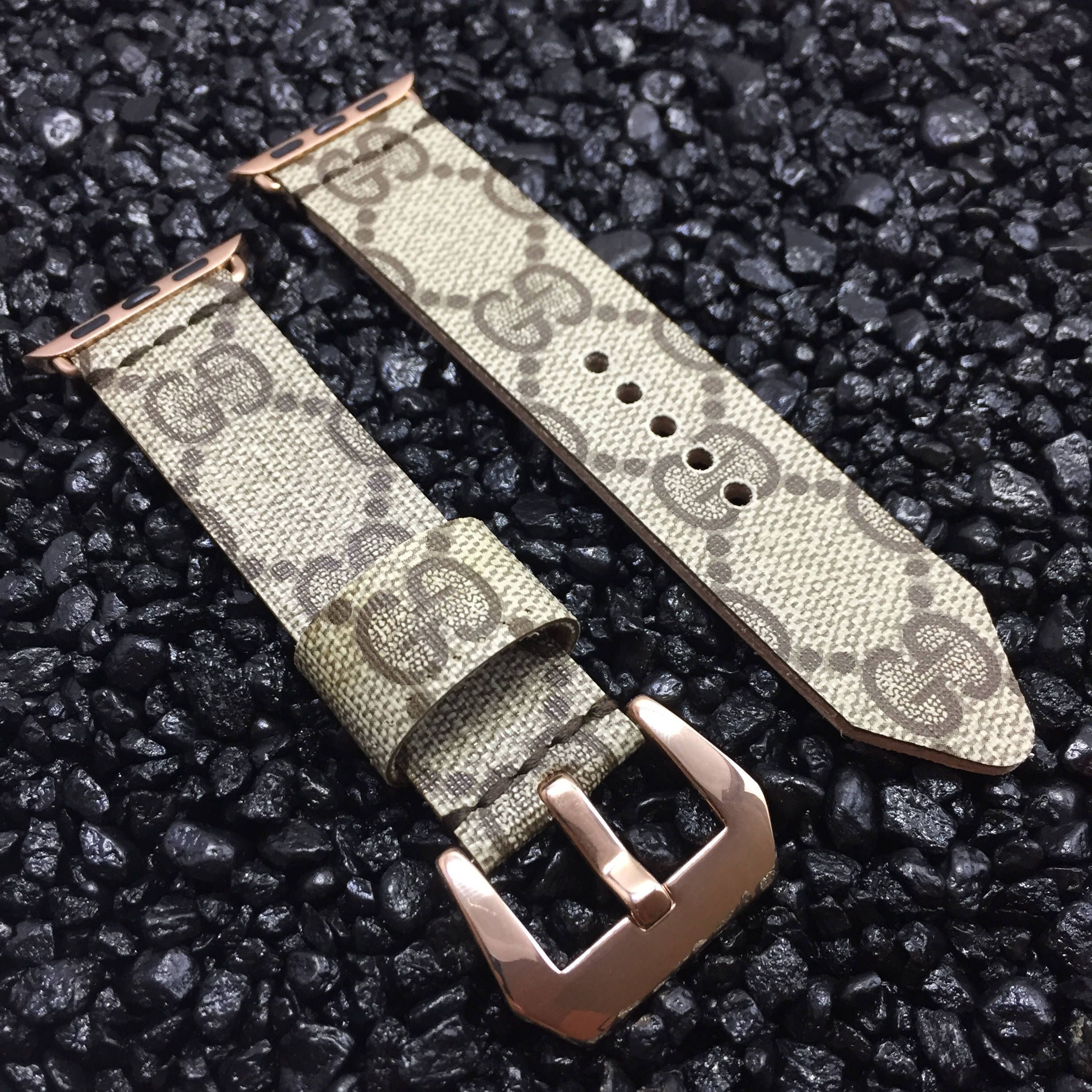 4bec890c1e7 Gucci Monogram Apple Watch Band Rose Gold Buckle - Custom Handmade Upcycled  Strap 38mm or 42mm
