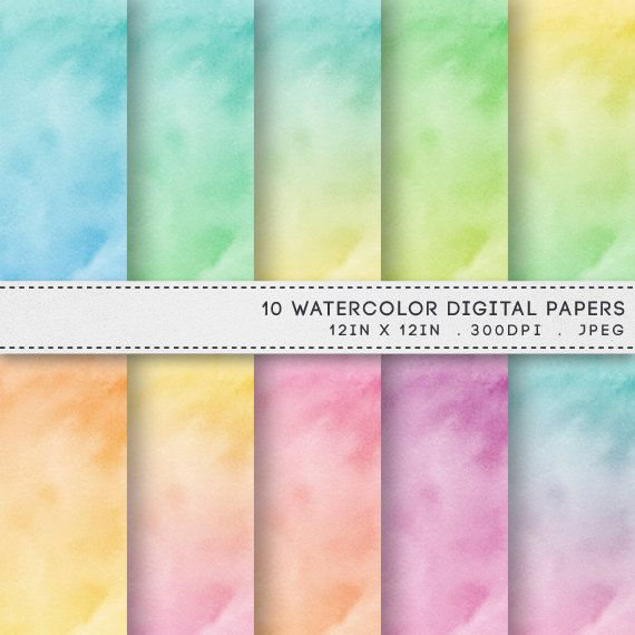 Watercolour Digital Paper Printable Watercolor Textures By