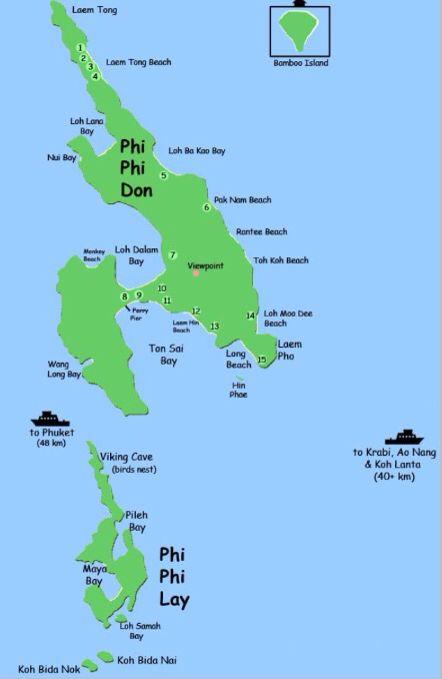 Map Of The Phi Phi Islands Phi Phi Island Island Phi