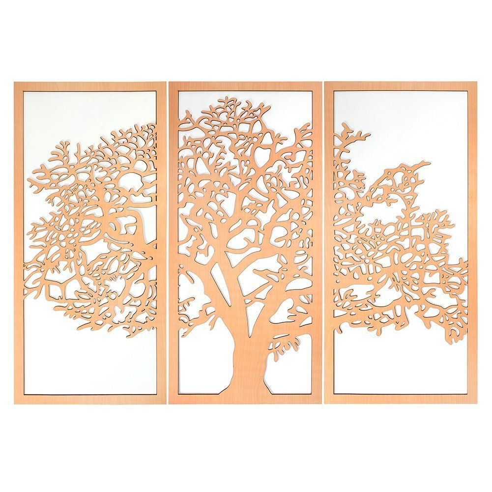 Tree Of Life 3d Cherry 3 Panel Wood Wall Art Beautiful Living