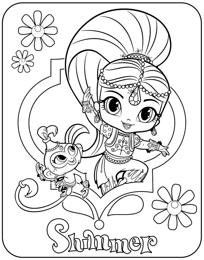 Shimmer And Shine Coloring Pages Best Coloring Pages For Kids Monkey Coloring Pages Coloring Pages Toddler Coloring Book