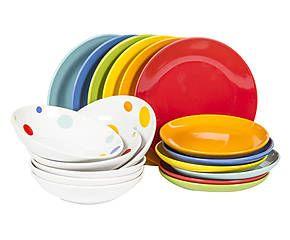 Servizio di piatti in gres miro 39 pois multicolor 18 - Servizio piatti quadrati ikea ...