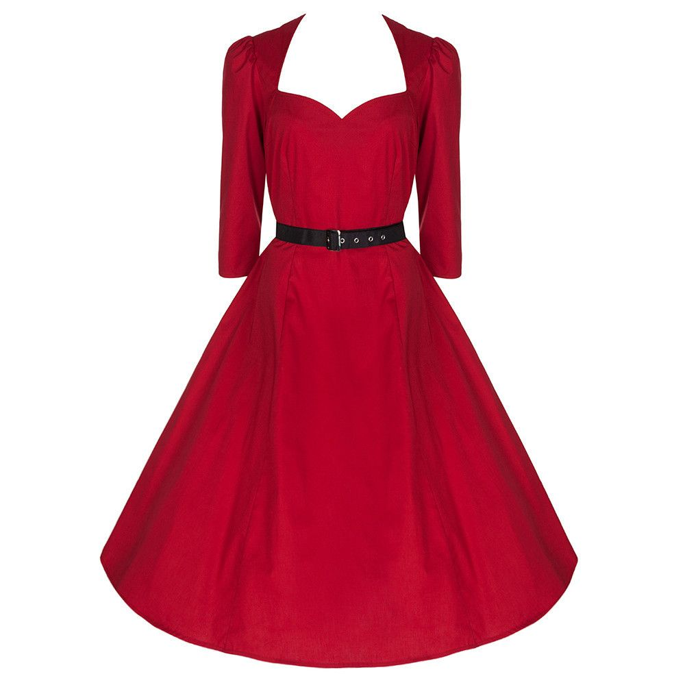 Red Belted 114/14 Sleeve Cotton 14s Swing Dress  Cotton swing dress
