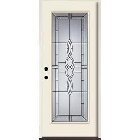 Reliabilt Calista Full Lite Decorative Glass Right Hand Inswing Bisque Painted Fiberglass Prehung Entry Door With Insula Entry Doors Fiberglass Entry Doors Door Handle Sets