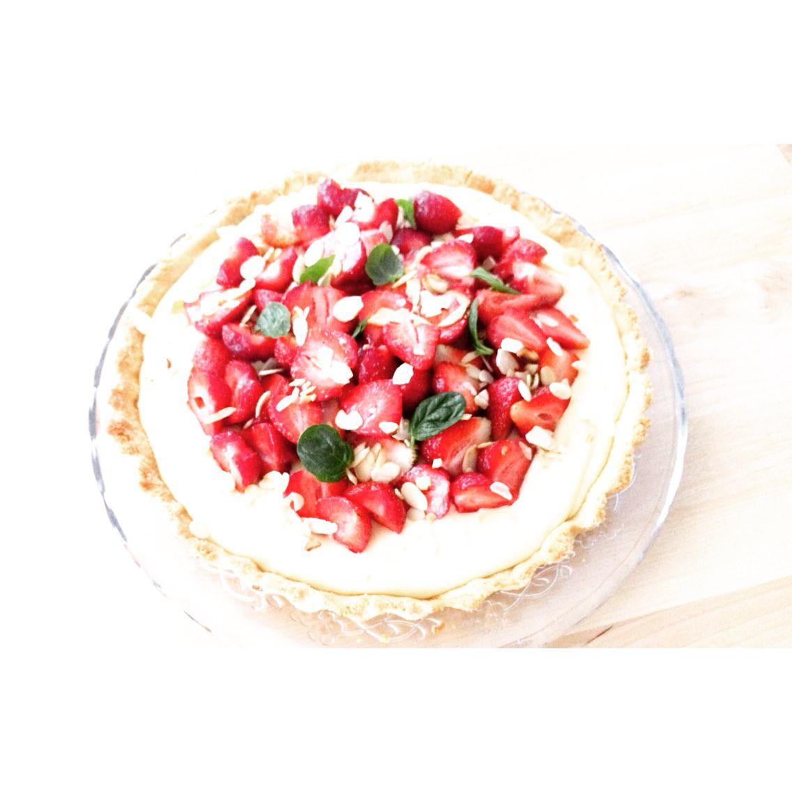 homemade strawberries and almod tart