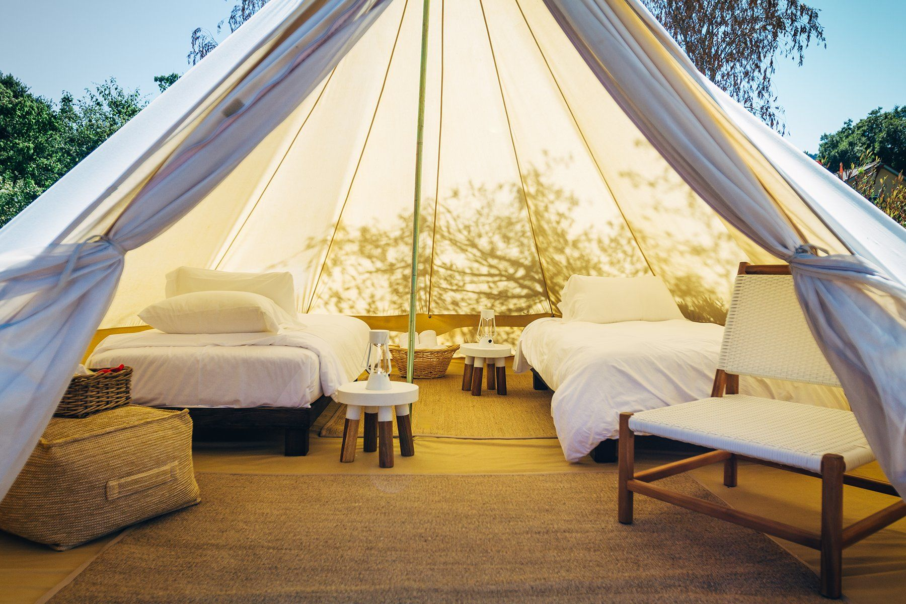 Deluxe bell tent yurt rentals with pool at country