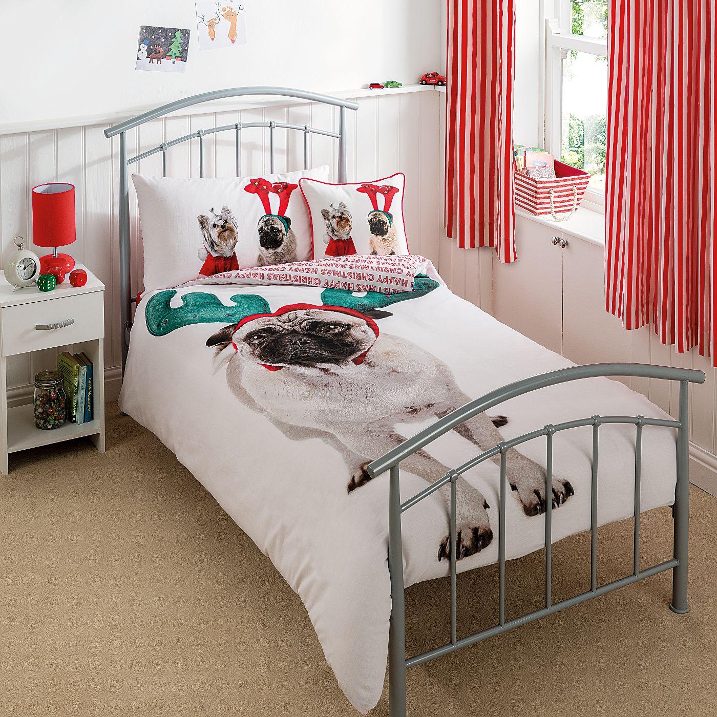George Home Christmas Pug Duvet Set Single Kids Bedding