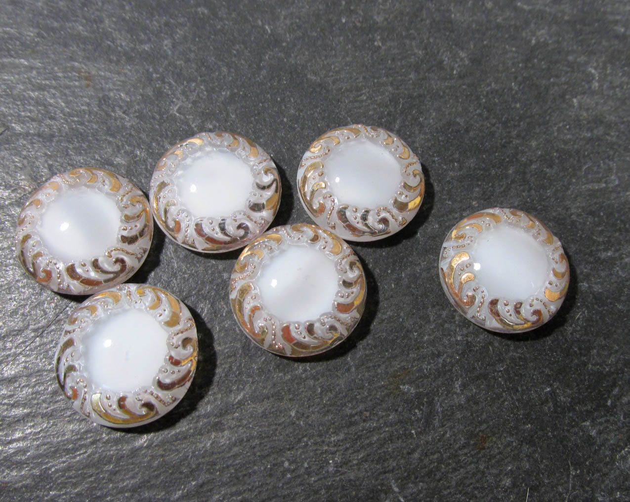 White Moonglow Glass Shankless Buttons West Germany VINTAGE White Luster Buttons Six (6) Vintage Buttons Jewelry Sewing Supplies (F188) by punksrus on Etsy
