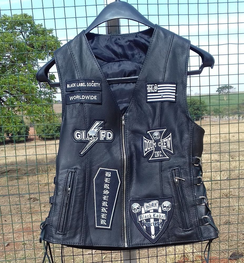 Black Label Society Genuine Cow Leather Vest Free Shipping Usa Handmade Black Label Society Leather Vest Black Label