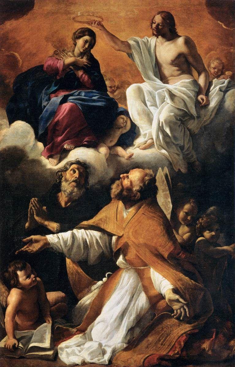Coronation of the Virgin with St Augustine and St William of Aquitaine / Le  Couronnement de la Vierge avec saint Au… (con imágenes) | Figuras  religiosas, Pinturas, Museo de louvre