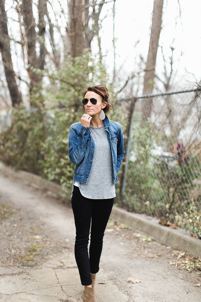 ankle boots black pants denim jacket gray tee casual basics outfit inspiration street. Black Bedroom Furniture Sets. Home Design Ideas