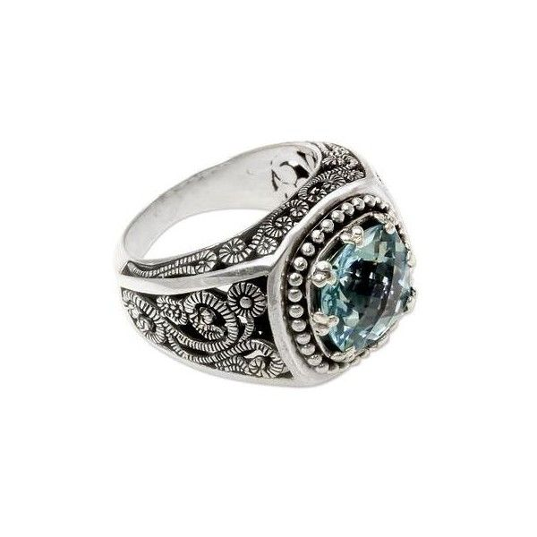 NOVICA Balinese Cushion Cut Blue Topaz Cocktail Ring ($85) ❤ liked on Polyvore featuring jewelry, rings, blue topaz, single stone, cocktail rings, blue topaz cocktail ring, novica jewelry, floral jewelry and antique jewellery