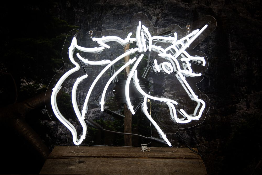 Unicorn $554.99 USD  Now this mythical beast can be yours!  The hand crafted glass tubing is mounted to a contour cut piece of high quality clear acrylic. The clear acrylic has four pre-drilled holes to accommodate the included standoff mounting hardware, the piece also comes with hanging chains.