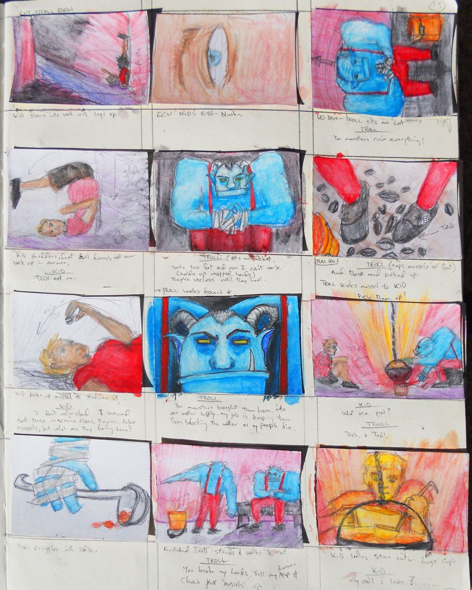 Page 13 of Trollie storyboards from sketchbook