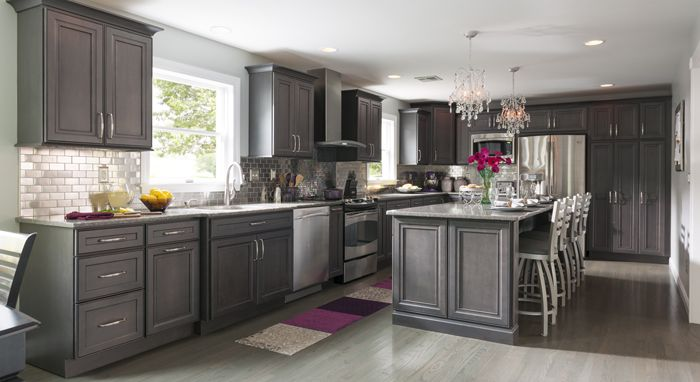 Fall Renovation Success Story Leyden Maple Cabinets In A Dark - Dark gray stained cabinets