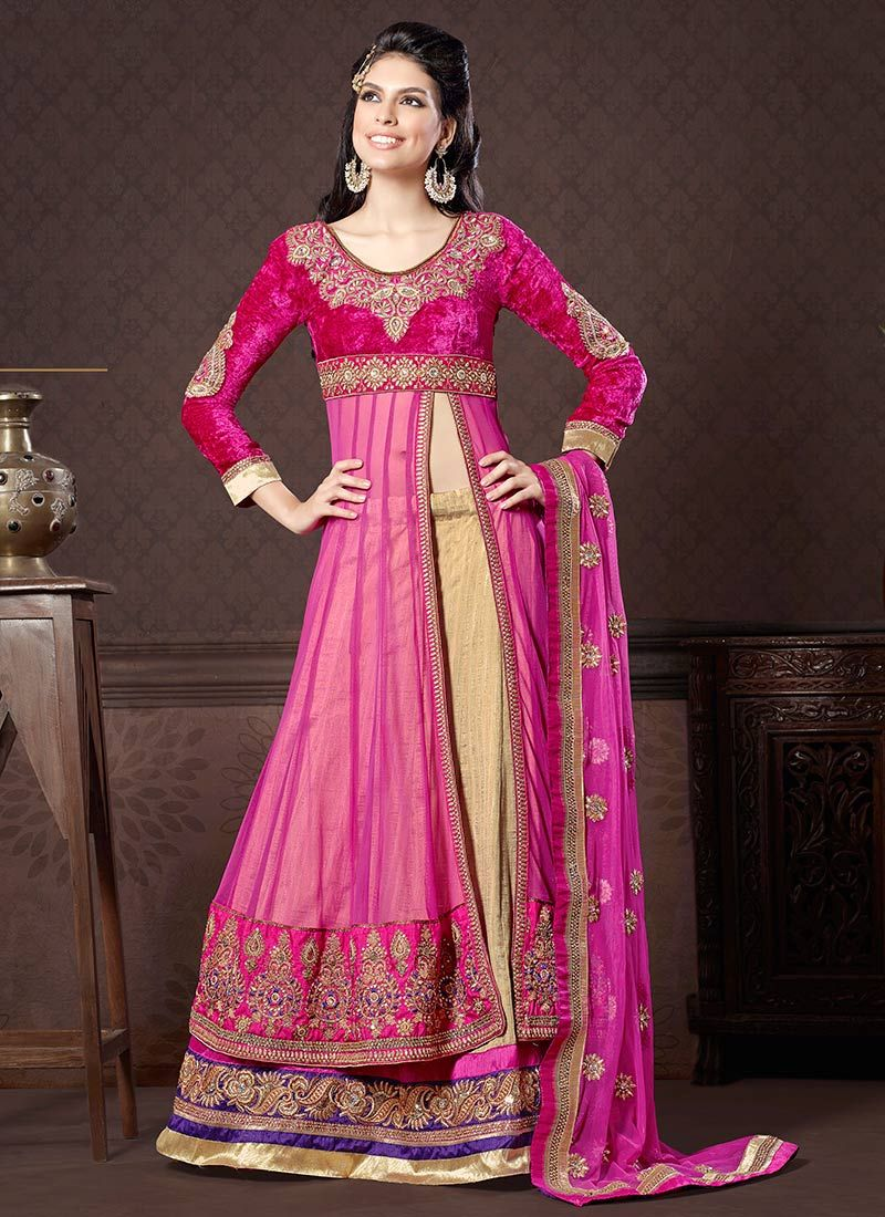 Pretty Beige Art Silk Long Choli Lehenga   Ropa India   Pinterest ...