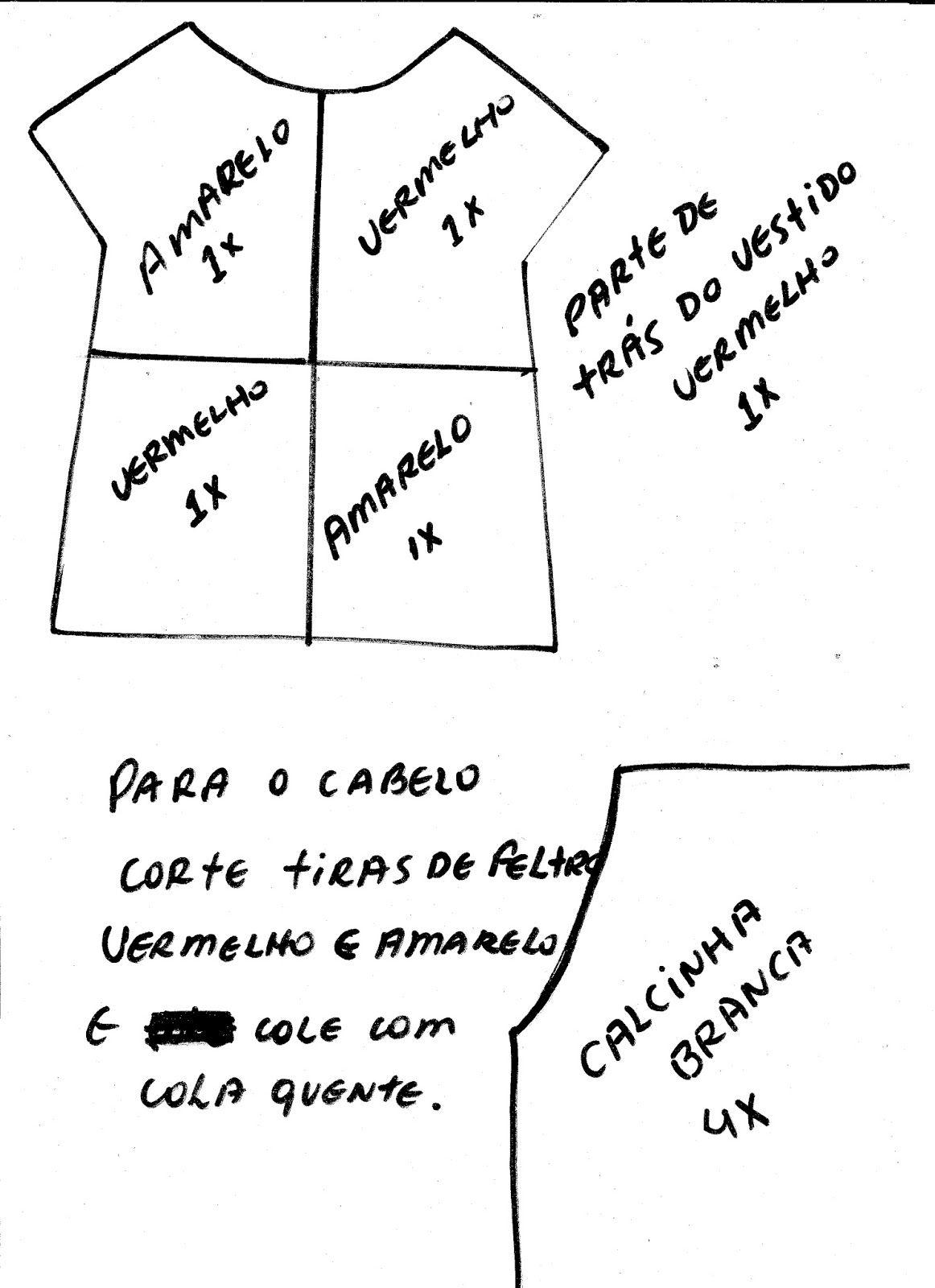 arte em feltro: Molde boneca Emília de feltro | boneca de pano ...