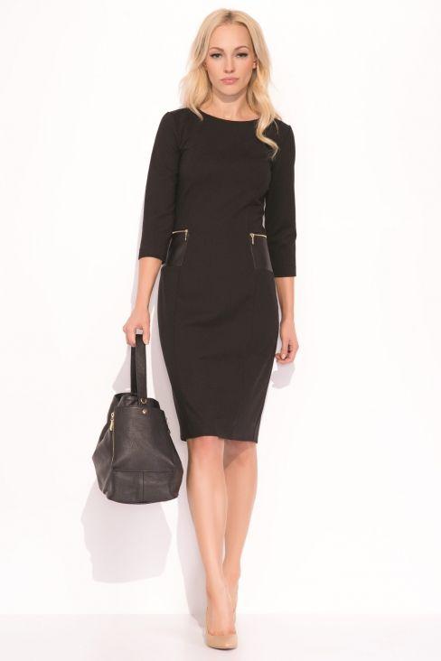 526f89ff9d0 Zaps - Robe droite avec poches en éco cuir Robe Droite Noire