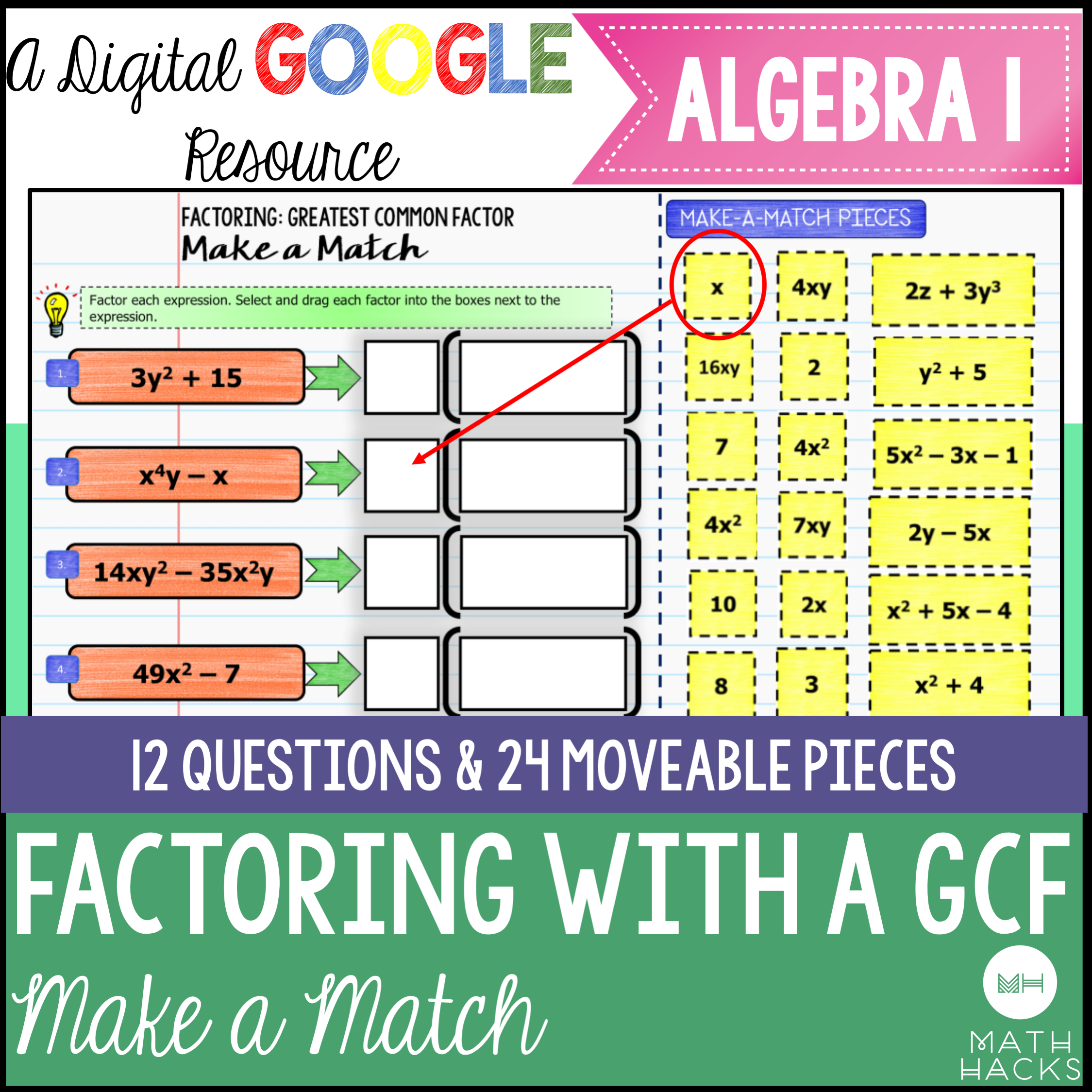 Factoring With A Greatest Common Factor Digital Make A
