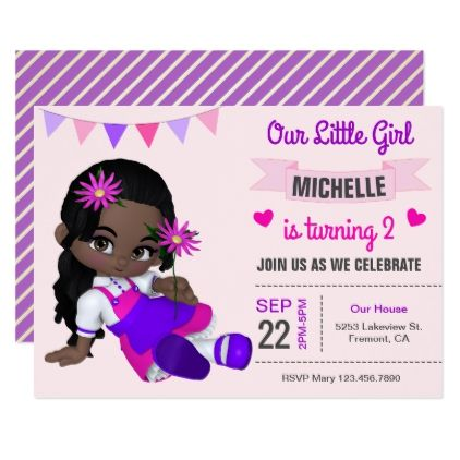 Cute african american girl birthday party invite invitation ideas cute african american girl birthday party invite negle Images