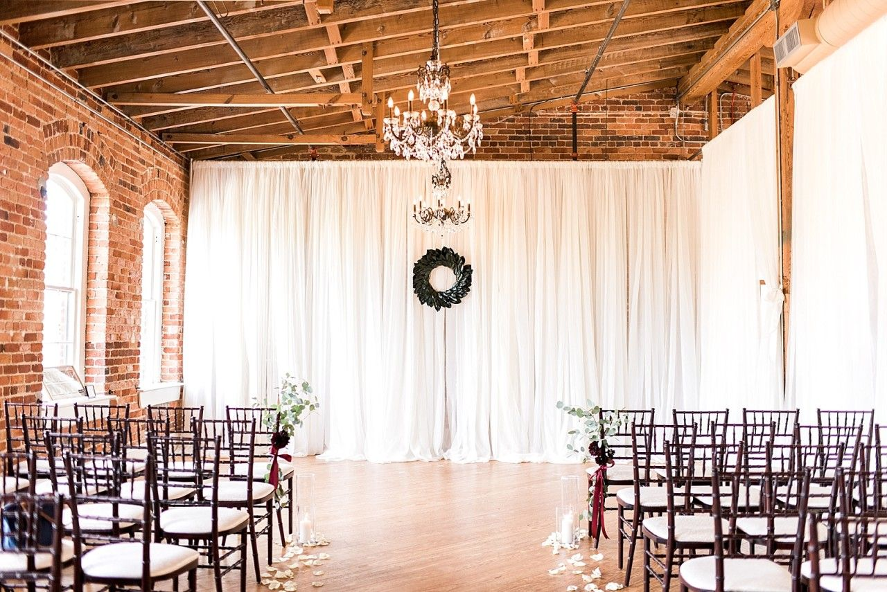 Knitted wedding decorations  Melrose Knitting Mill Wedding Photographs u Raleigh NC  Ceremony