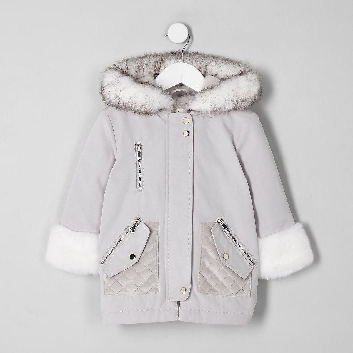 7e53fb6415597 Mini girls cream faux fur trim parka jacket - Baby Girls Coats   Jackets -  Mini