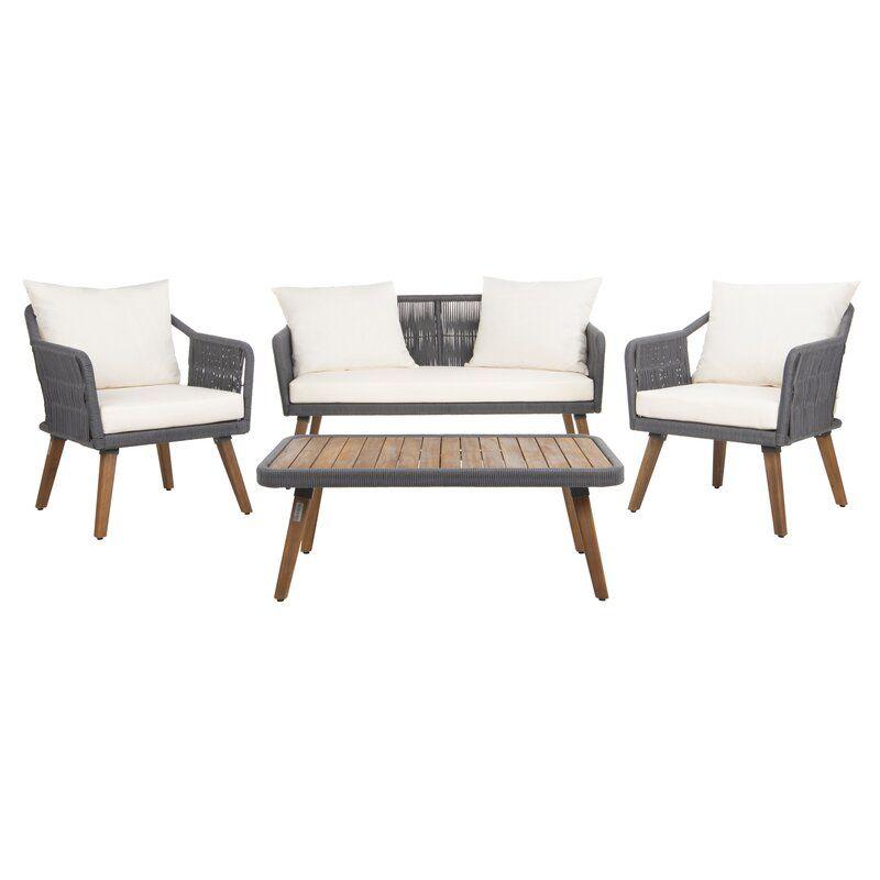 Sally 4 Piece Sofa Seating Group with Cushions in 2020 ... on Safavieh Raldin id=14819