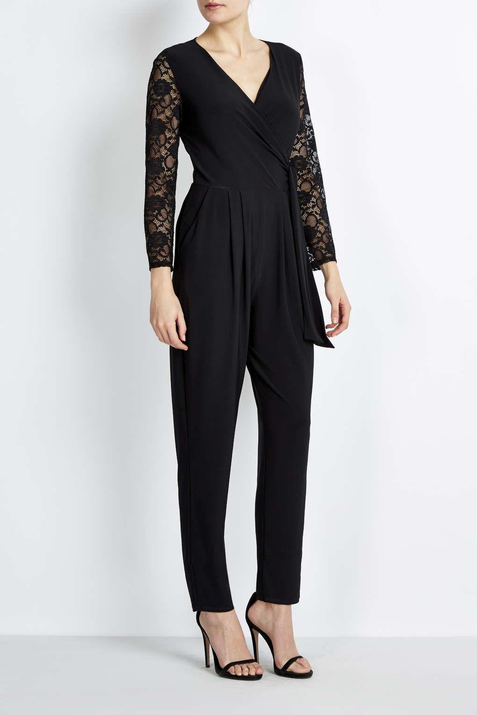 ffc1cc0ab840 Petite Black Lace Sleeve Jumpsuit - Wallis