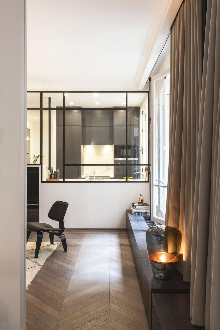 Appartement Paris 45 : 45 m45 raffinés avec verrière | Avant après ... - Maison Rénovée Avant Après