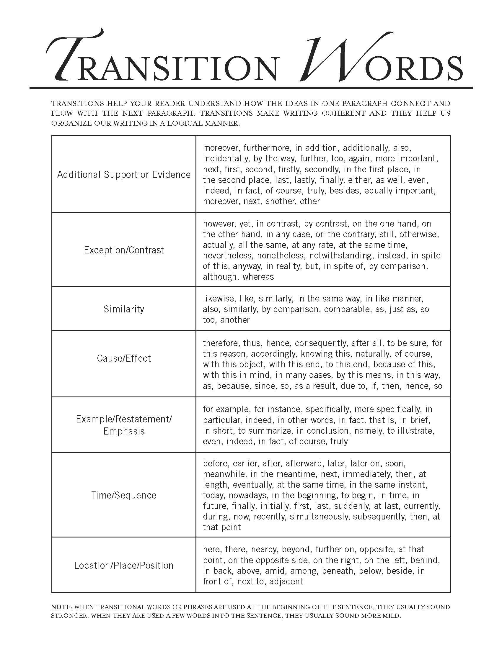 worksheet Transitional Words And Phrases Worksheet transition words for cause and effect essay