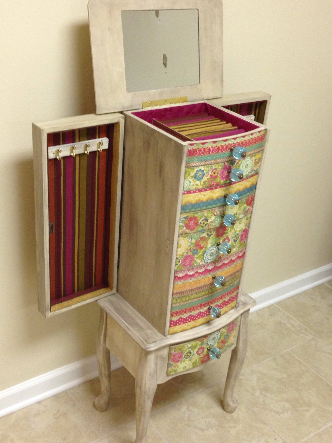 Multi Colored Repurposed Jewelry Armoire Custom Made To Order by