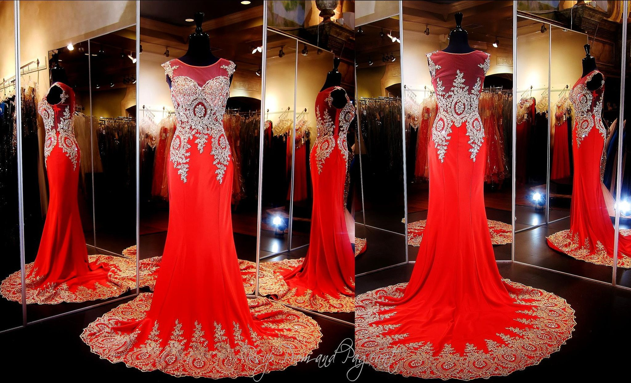 Red-gold-formfitting-pageant-prom-dress-train-illusion-bodice ...
