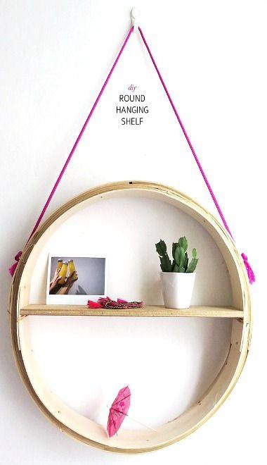 Diy Round Hanging Shelf Diy Hanging Shelves Hanging