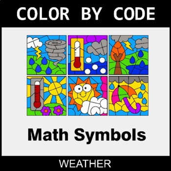 Math Symbols Color By Code Coloring Pages Weather Math Coloring Math Coloring Pages