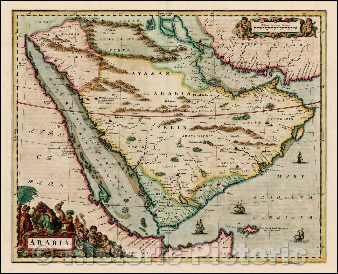 Historic Map Arabia 1661 Johannes Blaeu Vintage Wall Art In 2021 Ancient Maps Antique Map Vintage Maps