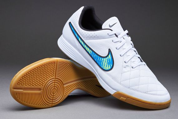 Mens Football Boots - Nike Tiempo Genio Leather Indoor - Soccer Cleats -  White/Volt