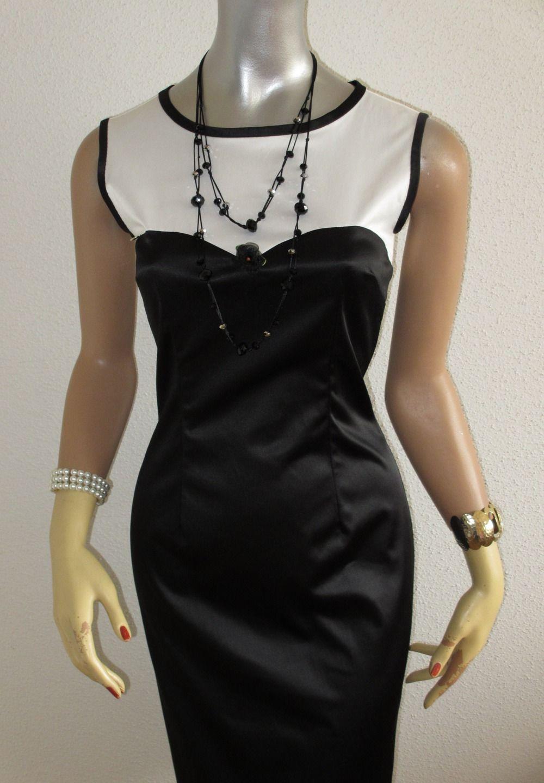 Robe Fourreau Satin Stretch Bicolore Noir Blanc Forme Bustier Robe Par Sirena Creation Robe Fourreau Robe Bicolore Bustier