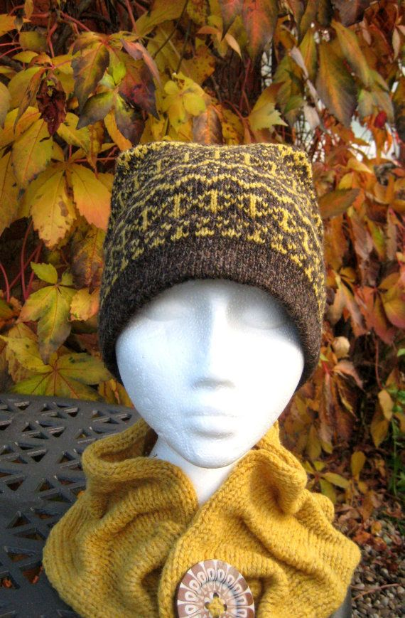 Fair Isle Hat in Scotch Broom Yellow and natural Brown Handmade ...