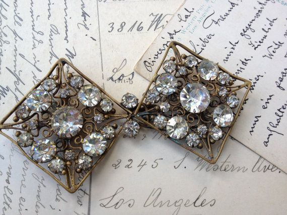 Antique Czech. Rhinestone buckle 1900s by thejunkdiva on Etsy, $34.00