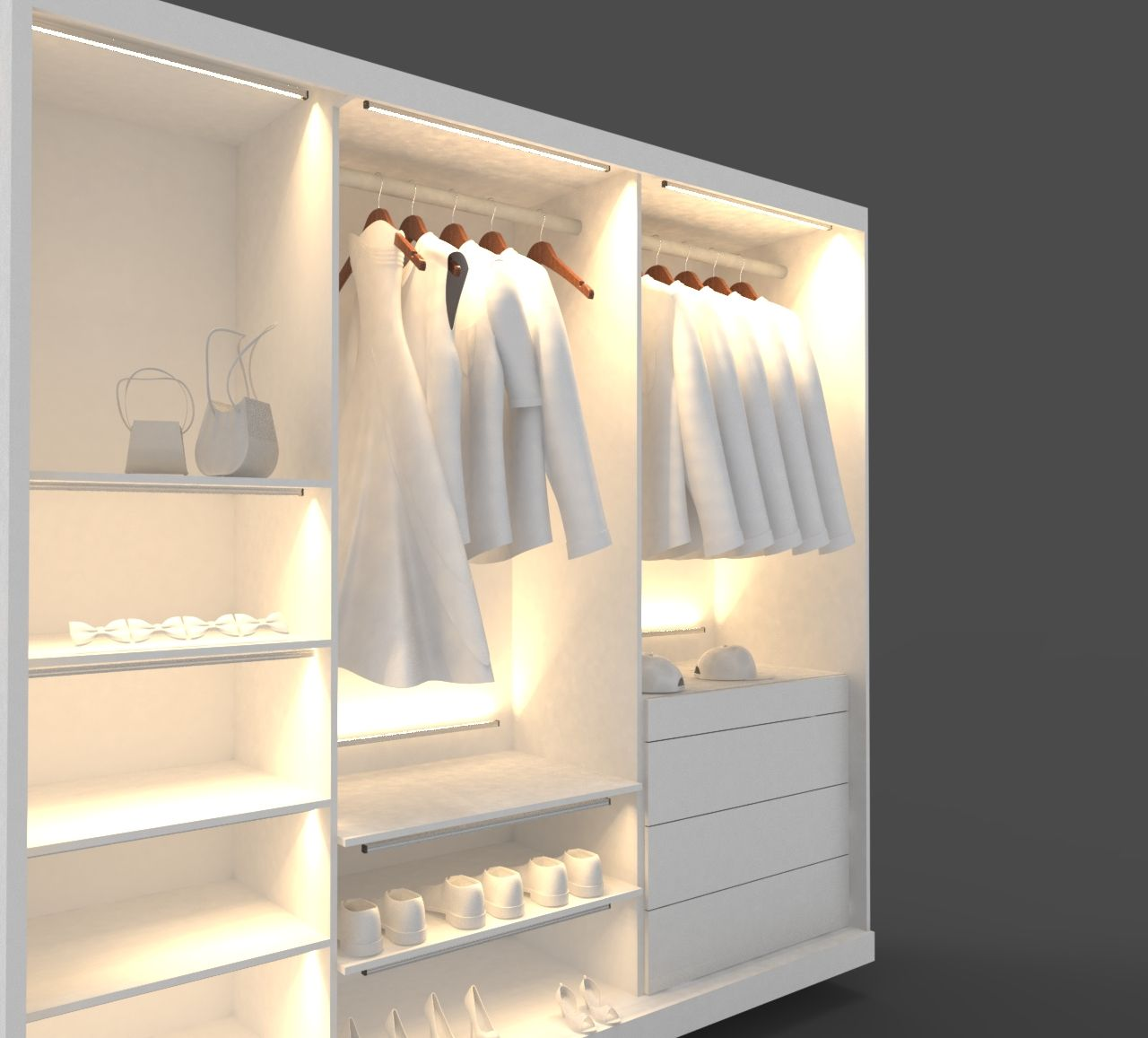 cool decor in bedroom yellow led wooden stylish saving wall simple shoes lighting building space cube stained floating yet walk closet small system racks brown very shelves a