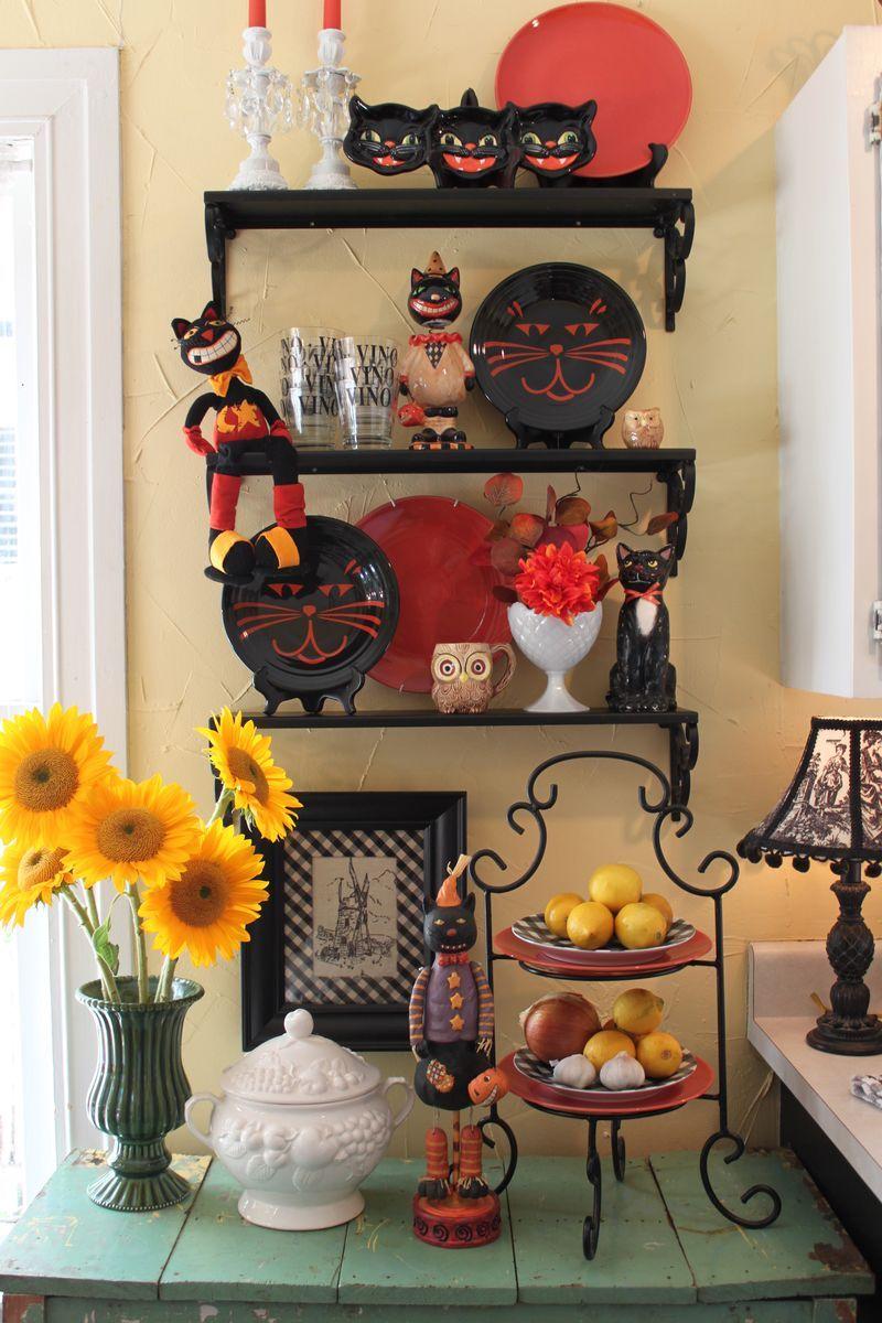 Sneaky black cat decor Everyday is Halloween Pinterest - halloween house decoration ideas