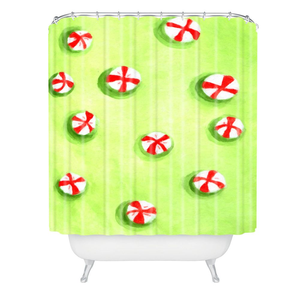 Rosie Brown Christmas Candy Shower Curtain | DENY Designs Home Accessories #shower #curtain #bathroom #homedecor #christmas #art #children #denydesigns
