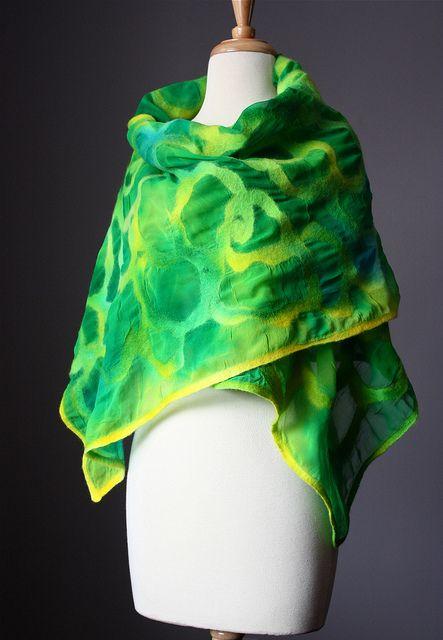 nuno felted wrap kelly green rose disign devore effect by VitalTemptation , Etsy, via Flickr