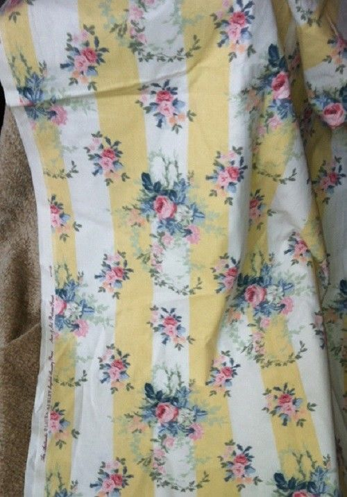 Laura Ashley Isabelle Yellow Stripe Roses Decorator Fabric 2 Yards